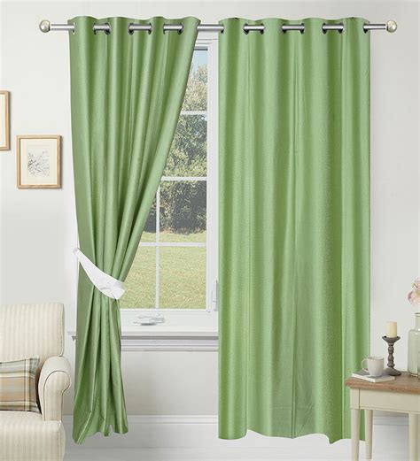olive green kitchen curtains azaani polyester solid green eyelet door curtain by azaani