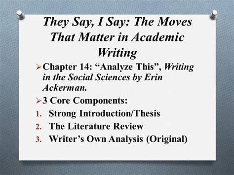 They Say I Say The Moves That Matter In Academic Writing Ppt Video Online Download They Say I Say Chapter 4 Templates