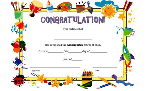 graduation certificate template kindergarten graduation certificate template 7 the best