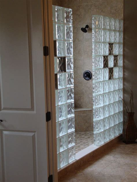 Glass Block Shower Wall Bathrooms Pinterest Glass Glass Block Showers Small Bathrooms