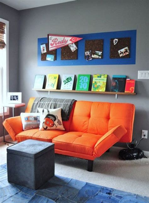 Futon For Boys Room Best Boy Bedrooms Chill Grey And Orange Room Design For A Pre Boy Kidsomania