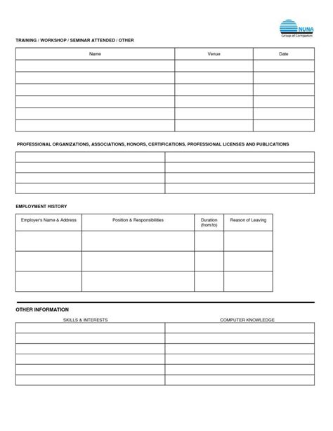 Mba Application Employment History Data Forms by Free Employment Applications To Print Application