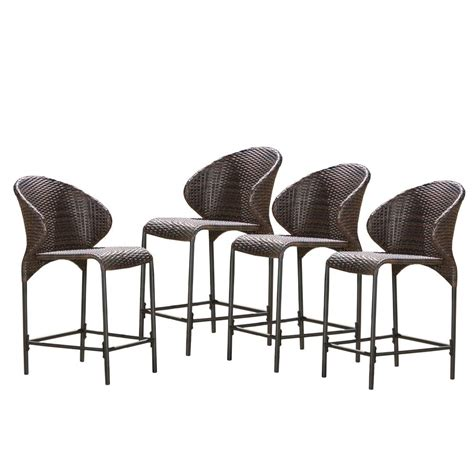 Bar Stools 4 Pack by Noble House Oyster Bay Wicker Outdoor Bar Stool 4 Pack