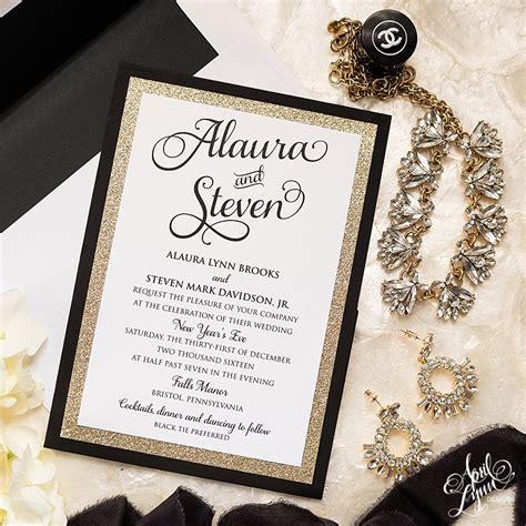 black and gold wedding invitation steve s gold glam new year s wedding invitation suite april designs custom