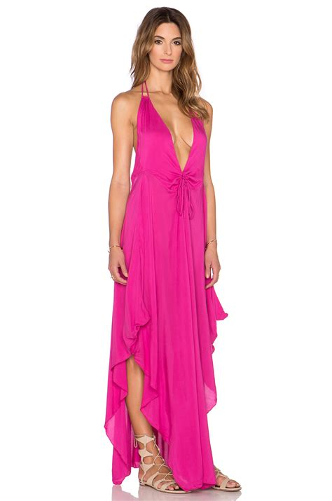 Set Maxi Indah 3in1 indah imani solid halter maxi dress in pink lyst