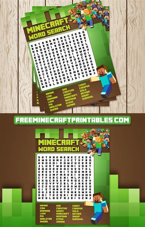 printable minecraft word search games minecraft porcos and templates para impress 227 o on pinterest