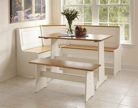 Kitchen Table With Bench Set Linon Corner Nook Set White And Finish Transitional Dining Sets By