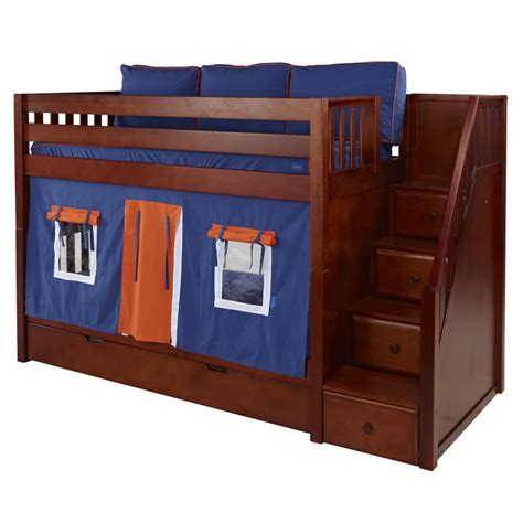 playhouse bunk beds blue and orange stacker playhouse bunk bed in chestnut by