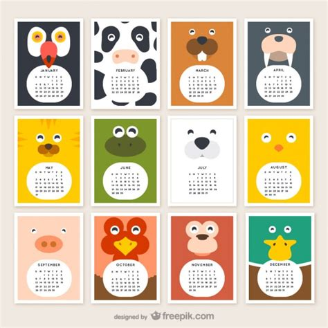 Calendario Animales Calendario De Animales 2015 Descargar Vectores Gratis