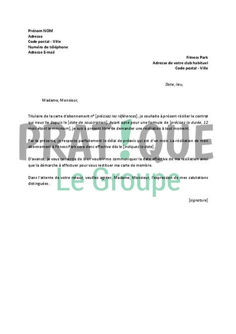Résiliation Parking Lettre Lettre De R 233 Siliation Fitness Park Pratique Fr