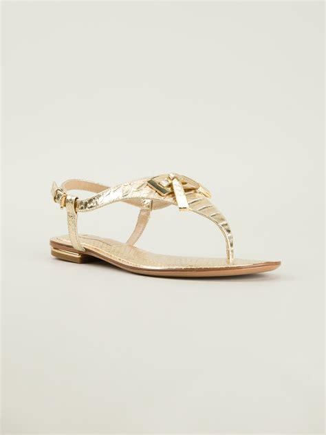 michael kors sandals gold michael kors sandals in gold metallic lyst