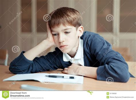 Diligent Student Sitting At Desk Classroom Royalty Free Student Sitting At Desk