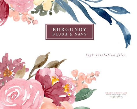 Creative Mugs by Burgundy Blush Navy Watercolor Flowers Clipart Set