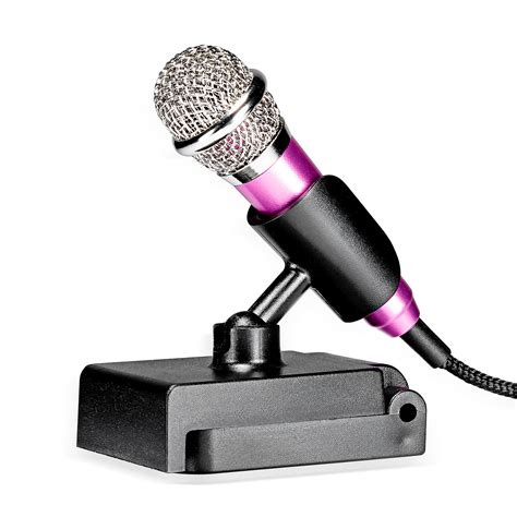 Mini Smartphone 3 5mm Microphone With Mic Stand Pink neewer mini condenser microphone for ios android windows intelligent devices smartphone