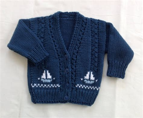 knitting motifs for babies baby knit cardigan with sailboat motifs 6 to 12 months