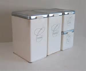 Kitchen Ceramic Canister Sets by 1950s Ransburg White Metal Canister Set Mid Century Kitchen