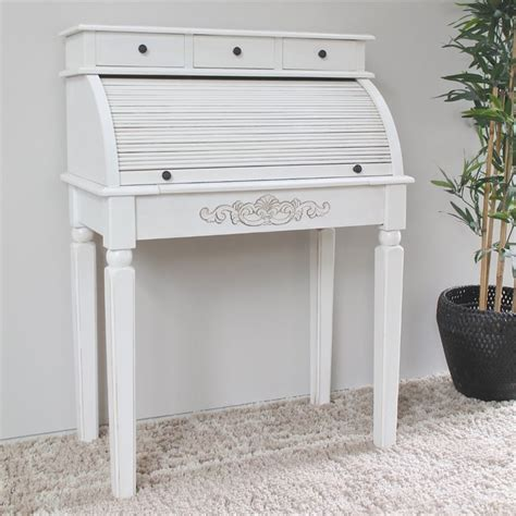 Carved Wood Roll Top Desk In White 3920 Aw White Desk With Wood Top