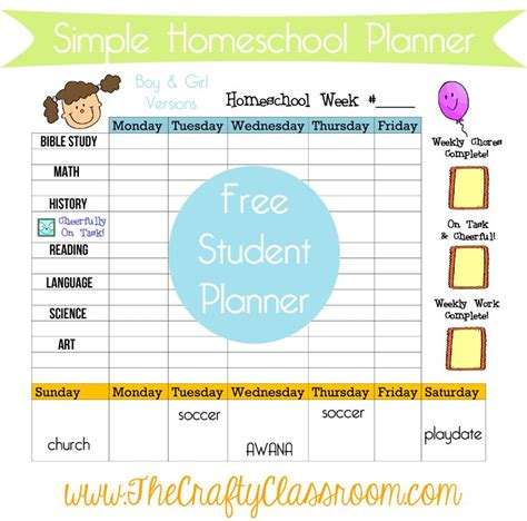 printable calendar elementary school weekly planner goals for young students includes morning