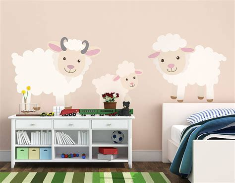 childrens wall stickers children s sheep wall sticker set contemporary wall stickers