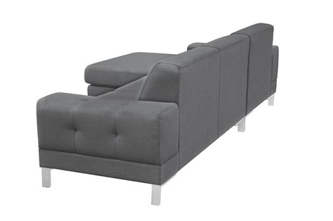 divani casa forli modern grey fabric sectional sofa w