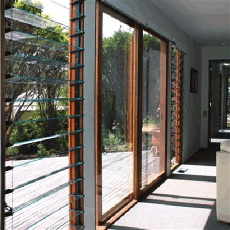 entrance sliding door with louvres either side