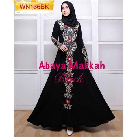 gamis abaya bordir makkah size l baju muslim pesta modern