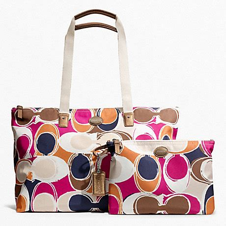 Coach Signature Stripe Scarf Print Tote by Getaway Scarf Print Packable Weekender F77419