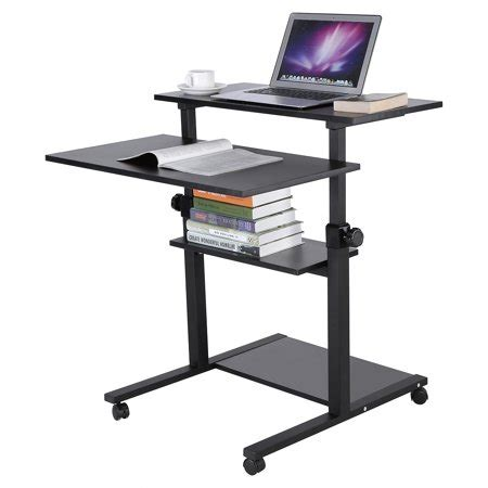 rolling stand up desk wood mobile standing desk height adjustable computer