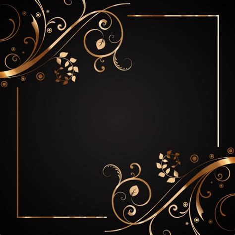 wallpaper hitam gold floral frame in gold and black vector free download