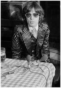 Michael Hutch Mick Jagger Wearing A Striped Suit In 1973 169 Jazzinphoto