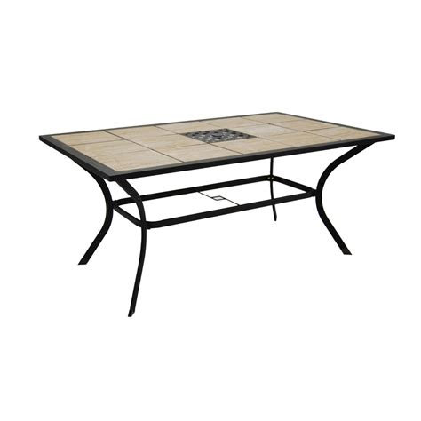 Tile Top Patio Dining Table Shop Garden Treasures Eastmoreland Tile Top Brown Rectangle Patio Dining Table At Lowes