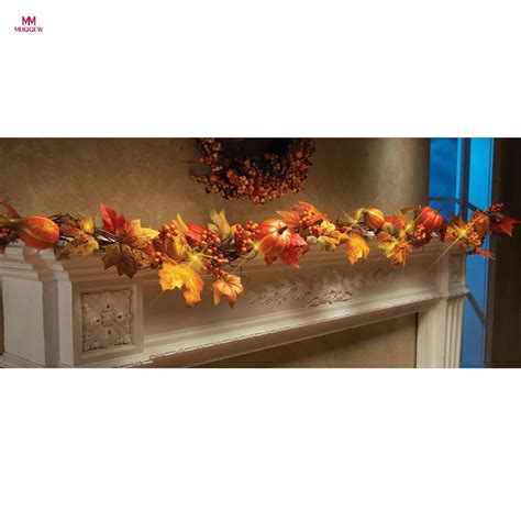battery lighted fall garland muqgew 1 8m led lighted fall autumn pumpkin maple leaves