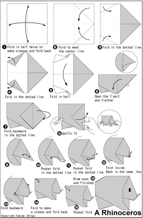 Rhino Origami - rhinoceros easy origami for