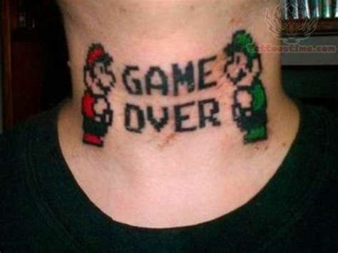 game over tattoo on neck