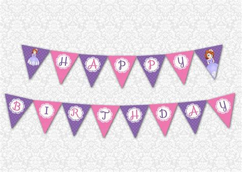 sofia the first happy birthday banner printable banner little girl birthday party themes pinterest