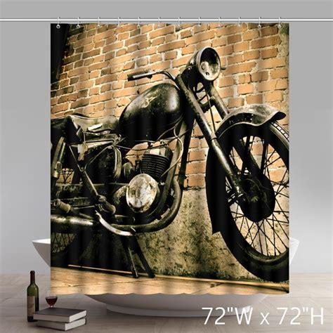 motorcycle shower curtain vintage motorcycle and house custom design waterproof