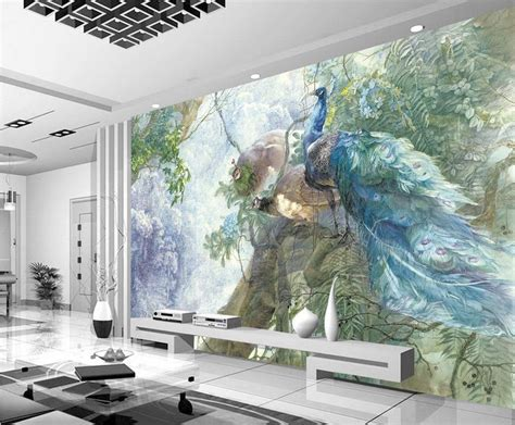 unique wall murals popular peacock wall mural buy cheap peacock wall mural lots from china peacock wall mural