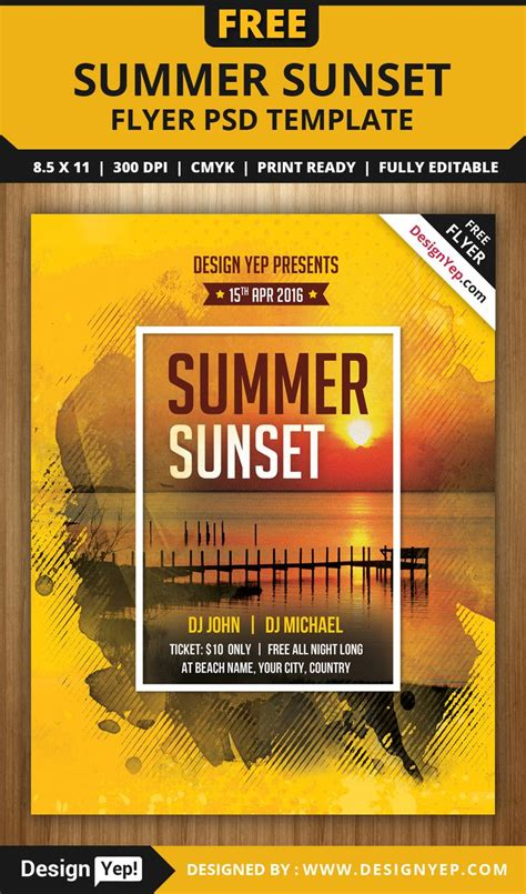 free summer sunset flyer psd template
