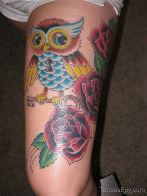 owl rose tattoo 50 lovable owl on thigh