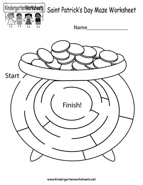 kindergarten activities st patrick s day free printable saint patrick s day maze worksheet for