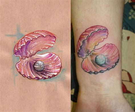shell tattoo pearl and shell tattoos shell