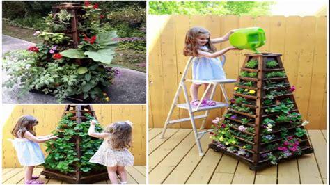 how to build a vertical garden pyramid tower diy outdoor