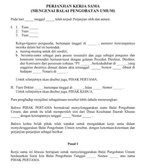 contoh surat perjanjian kerja sama balai pengobatan format