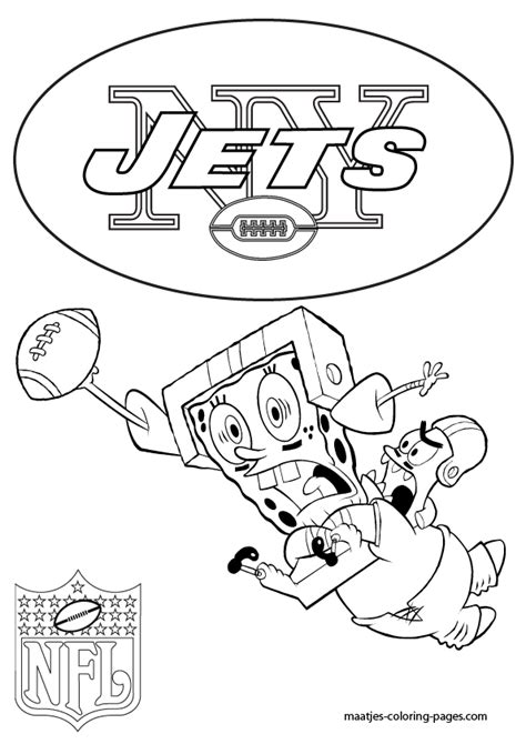 spongebob nfl coloring pages new york jets patrick and spongebob coloring pages