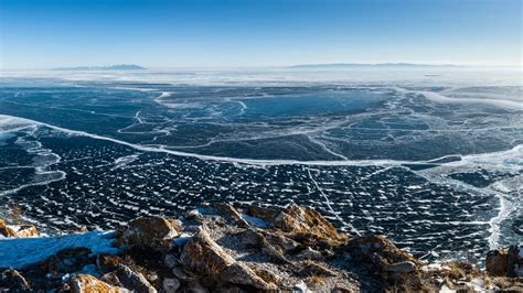 wallpaper lake baikal ice  nature