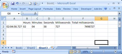 excel 2007 milliseconds format time how do i convert hh mm ss 000 to milliseconds in