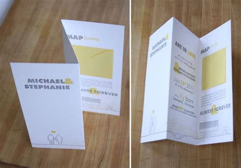 Unique Fold Out Wedding Invitations by Yellow Gray Letterpress Wedding Invites