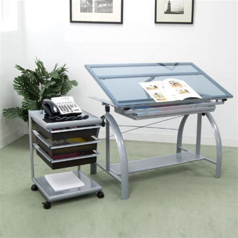 Avanta Drafting Table Avanta Drafting Table Silver Blue Glass Best Drafting Tables