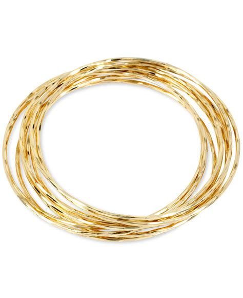 Hint of gold Thin Bangle Bracelet Set In 14k Gold Over Metal in Gold (Yellow Gold)   Lyst