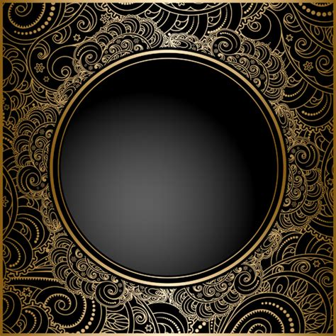 Infographic Wall by Black With Golden Vintage Background Art Vector 02